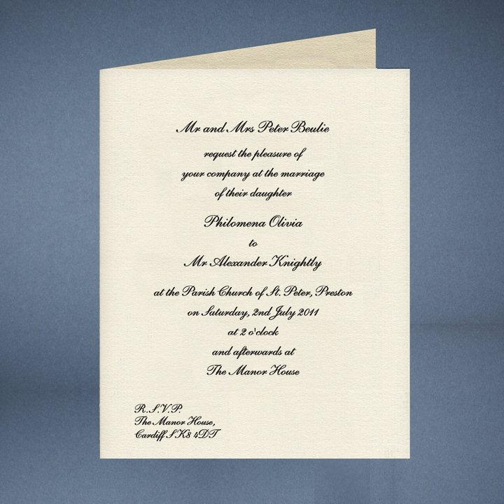 Ukázka svatebního oznámení na britskou svatbu